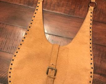 Vintage 1970s Tan Suedette Shoulder Bag with Grommets and Buckle