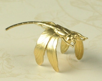 6 Pcs Raw Bare Naked Brass Large Brass Dragonfly Pendant Focal Point or Adjustable Ring 748