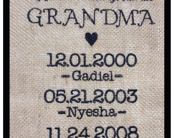Grandmother Embroidered Burlap Wall Hanging