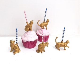 Gold Cat Candle Holder Cake Topper / Animal Birthday Party Decor / Cat Party Supplies Decor / Cat Cupcake Decoration / Cat Birthday Party