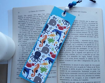 Bookmark paper, marine theme, under the sea, fish, jellyfish, crab
