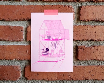 Greenhouse with plants - Risograph print A5, limited edition