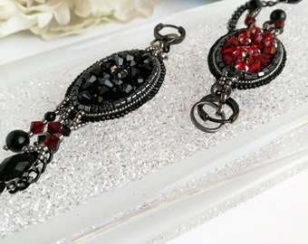 Red and black double sided earrings are made crystals Swarovski , agate beads, seed beads. Beaded long oval earrings in style glam rock