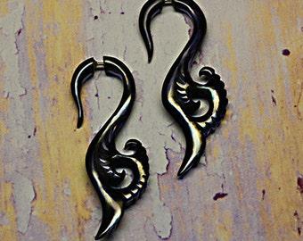Fake Gauges, Seaside Curls, Black Horn Earrings, Tribal Horn Earrings, Fake Gauge Earrings, Tribal Jewelry, BOHO, Eco Friendly, Organic, H06