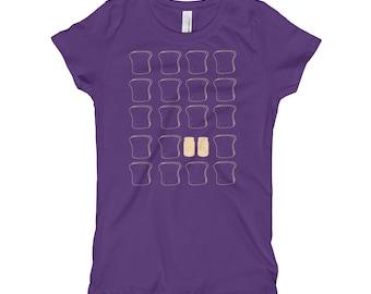 Peanut and jelly, bread, toast sandwich lunchbag, favorite food, snack, kids, love pb&j, foodie fan, Girl's T-Shirt