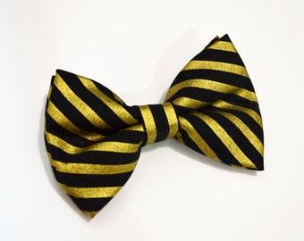 Black bow tie with Gold Stripe Bow Tie, boy bow tie, baby bow tie, adult bow tie, men's bow tie, gold bow tie, black bow tie