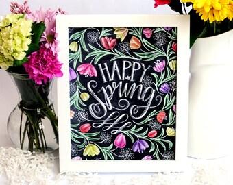 Spring Decor, Spring Art, Tulips, Happy Spring, Chalk Art, Chalkboard Art, Hand Lettered