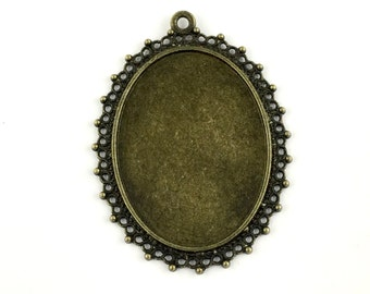 1 base setting tray pendant /fits 30mm x 40mm cabochon , #FIN 022