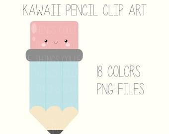 SALE Cute Kawaii Pencil Face Clip Art Digital Planner Sticker Scrapbooking Instant Download Printable Invitation Card Birthday PNG