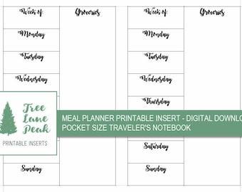 Meal Planner Printable TN Insert - Pocket Size