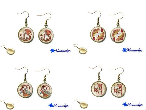 Astrological signs, signs of the Zodiac, glass cabochons earrings