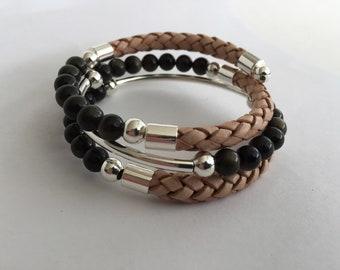 Obsidian Bracelet Gemstone Bracelet Leather Bracelet Black Bracelet Silver Bracelet Wire Wrap Memory Wire Bracelet