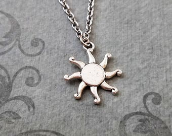 Sun Necklace Sun Charm Necklace Sun Jewelry Summer Necklace Summer Jewelry Bridesmaid Jewelry Celestial Necklace Sun Pendant Necklace Gift