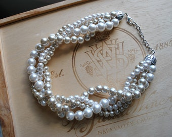 Champagne and Cream Chunky Pearl-4 Strand- Twisted Statement Necklace
