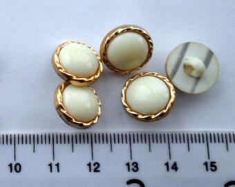 Vintage 80's cream color with gold rim buttons-10 vintage 13 mm shank buttons-Dress, blouse buttons