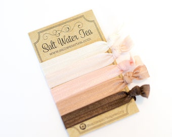Ballet Hair Ties - Set of 5 Crease-Free Ribbon Hair Ties, Bridesmaid Gift, Hair Elastics, FOE