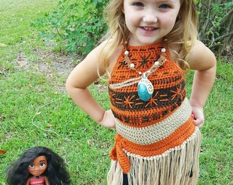 Moana Crochet Costume Dress Pattern - Hula Princess Outfit - Toddler - Child - **PATTERN ONLY** Not a finished item!