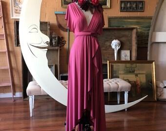 Peony Rose Tulip Cut Infinity Wrap Dress. Bohemian Bridal, Beach Wedding, bridesmaids, maternity