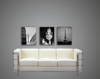 Paris Canvas, Black and White Canvas, Large Canvas Art, Eiffel Tower, Chandelier, Paris Wall Decor Set