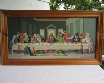 Vintage The Last Supper Framed Paint by Number Colorful Kitsch Wall Hanging