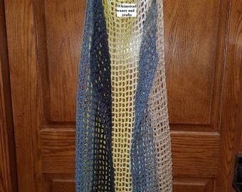 Summer time crochet long vest, airy, flowing, new