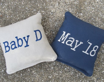 Personalized Baby Shower Cornhole Game Bags - Baby's Name and Birth Month/Year - Set of 8 Shown in Grey and Navy Blue - Great Gift!!