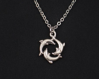 dolphins necklace, sterling silver filled, silver three dolphins charm, dolphin circle, sea-themed jewelry for bridal parties,christmas gift