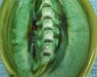 Vintage Maurice of California Drip Glaze Green Ashtray Tobacciana