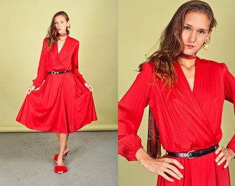 70s Red Long Sleeve Dress Vintage Bright Holiday Wrap Dress