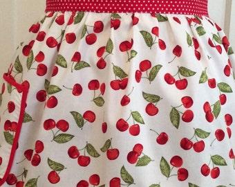 Retro Cherry Apron Retro Cherry Apron White with Red Cherries Retro Apron Retro Housewife
