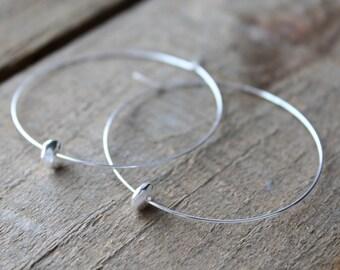Silver Hoops, Silver Hoop Earrings, Large Silver Plated Hoops Earrings Disc Bead