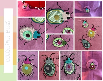 WHIMSICAL BUGS, little colourful, cute creatures, made to embellish your textile projects, 9 Machine Embroidery Designs, very combinable