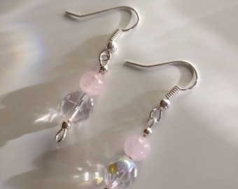 Fire Polished Rose Quartz Earrings