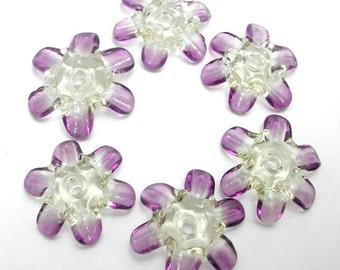 Handmade Lampwork Glass Beads - Fairy Blossoms lampwork glass disk flower beads - Fresh