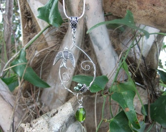 Silver wire wrapped nest and bird necklace with green eggs - SALE