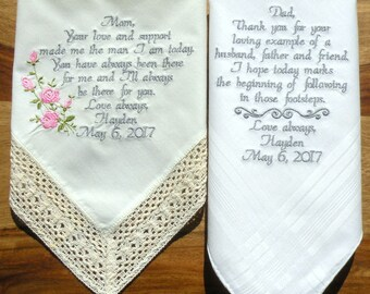 Embroidered Wedding Hankerchiefs Set Ivory Wedding Handkerchief Wedding Gift Set of two Wedding Gift for Mom and Dad By Canyon Embroidery