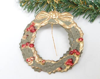 German Dresden Embossed Christmas Wreath Ornament, Antique for Christmas Tree