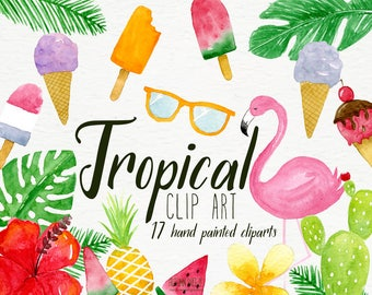 tropical clipart, clipart, pink flamingo, tropical leaves, watercolor clipart, summer clipart, watermelon clipart, pineapple clip art, beach