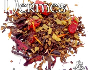 Hermes Devotional Tea - loose leaf honeybush tea, strawberry, hibiscus, cinnamon, safflower, pomegranate, honey, Hellenic pagan, Mercury