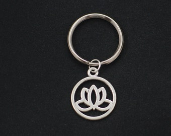 lotus keychain, sterling silver filled, best friend, bridesmaids gifts, silver lotus flower charm keyring, mothers gift, blooming flower