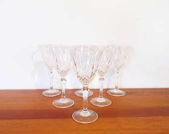 Cristal d'Arques Masquerade Cross and Fan Water Glasses Set of 6