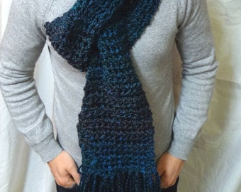 Blue Scarf Turquoise 104x5 Inches Extra Long Chunky Neckscarf Crochet knit Womans Easter Unique Birthday Mans Gift Easter Fathers Day