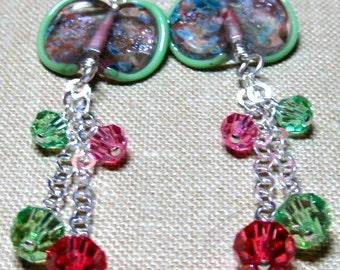 Pink & Green Clam Shell Chain Dangle Earrings - E767