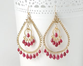 Ruby Chandelier earrings - Statement Red Ruby drop earrings 14k Gold filled/ genuine Ruby Earrings / July Birthstone Jewelry Gift for Her