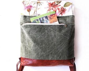 Boho backpack / backpack / leather backpack / convertible backpack / canvas backpack / Laptop backpack / School bag / botanic pattern /