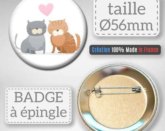 Badge 56 mm - cat lover heart Couple Cats Love Valentines Day gift