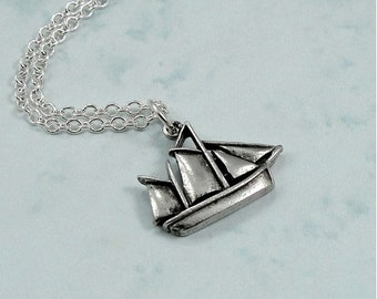 Sailboat Necklace, Silver Sailboat Charm on a Silver Cable Chain