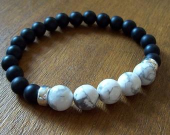 Mens bracelet, Men, Gift, Men's bracelet, Man's bracelet, Onyx bracelet, Sterling silver, Howlite bracelet, Natural Matt Onyx (grade AAA)