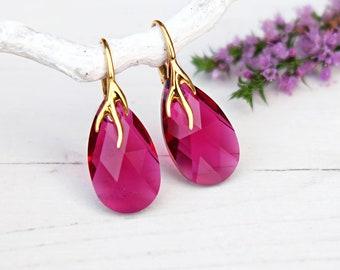 Ruby earrings, Swarovski crystal earrings, Red crystal earrings, Simple teardrop earrings, Sterling Silver earrings, Rose gold earrings 5