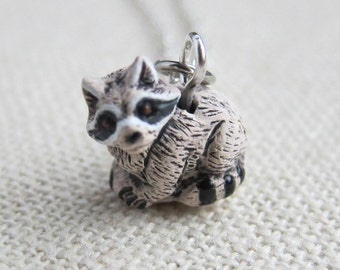 Tiny Raccoon Ceramic Necklace  (R3A)